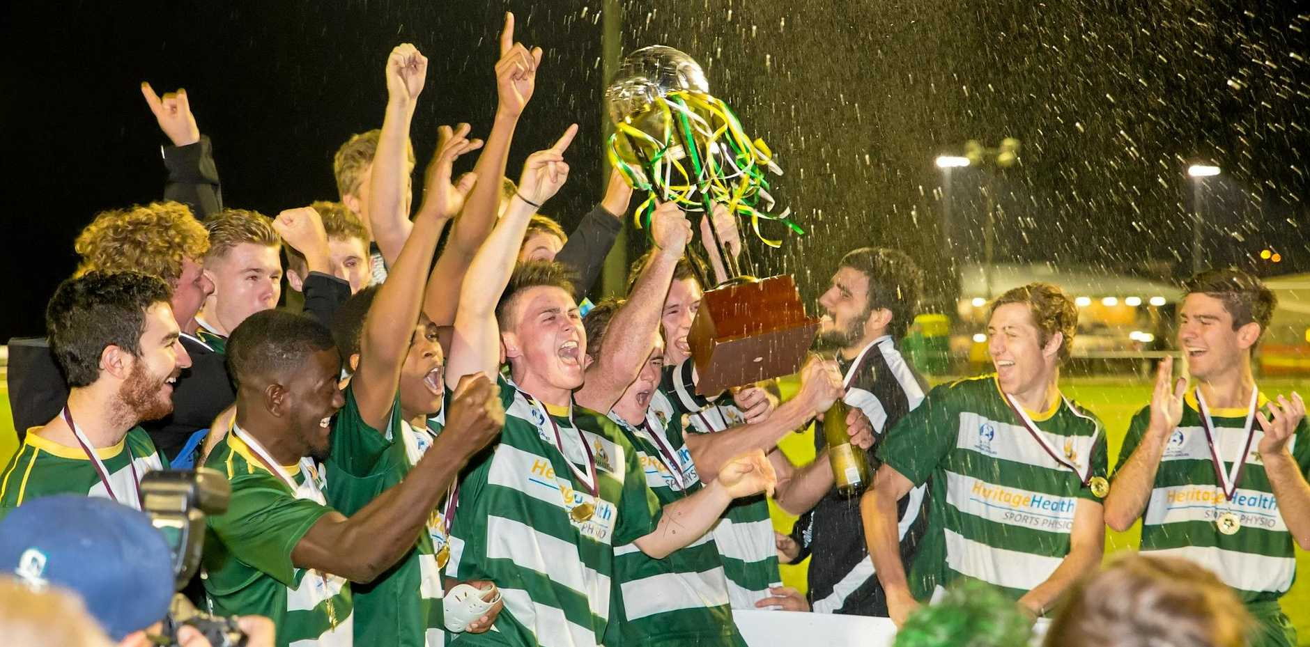Western Pride footballers celebrate their historic National Premier Leagues state league grand final victory.