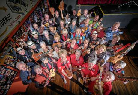 The Grafton Ukettes gather for a group shot ahead of this weekend's Uke Hop at the South Grafton Ex-Servicemen's Club.