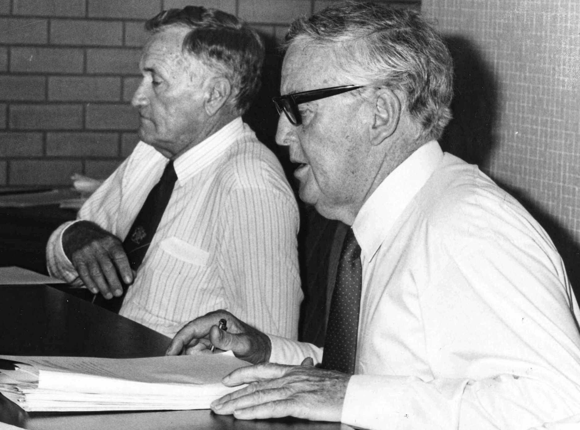 Qld Premier Sir Joh Bjelke-Petersen with deputy Bill Gunn.