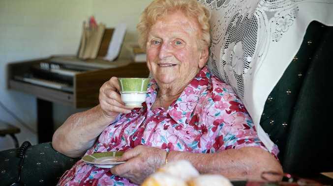 WELL LOVED: Lady Flo Bjelke-Petersen having tea and pumpkin scones at Bethany, Kingaroy.