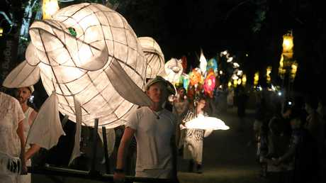 THE lantern parade which is a feature of the annual Woodford Folk Festival fire event.