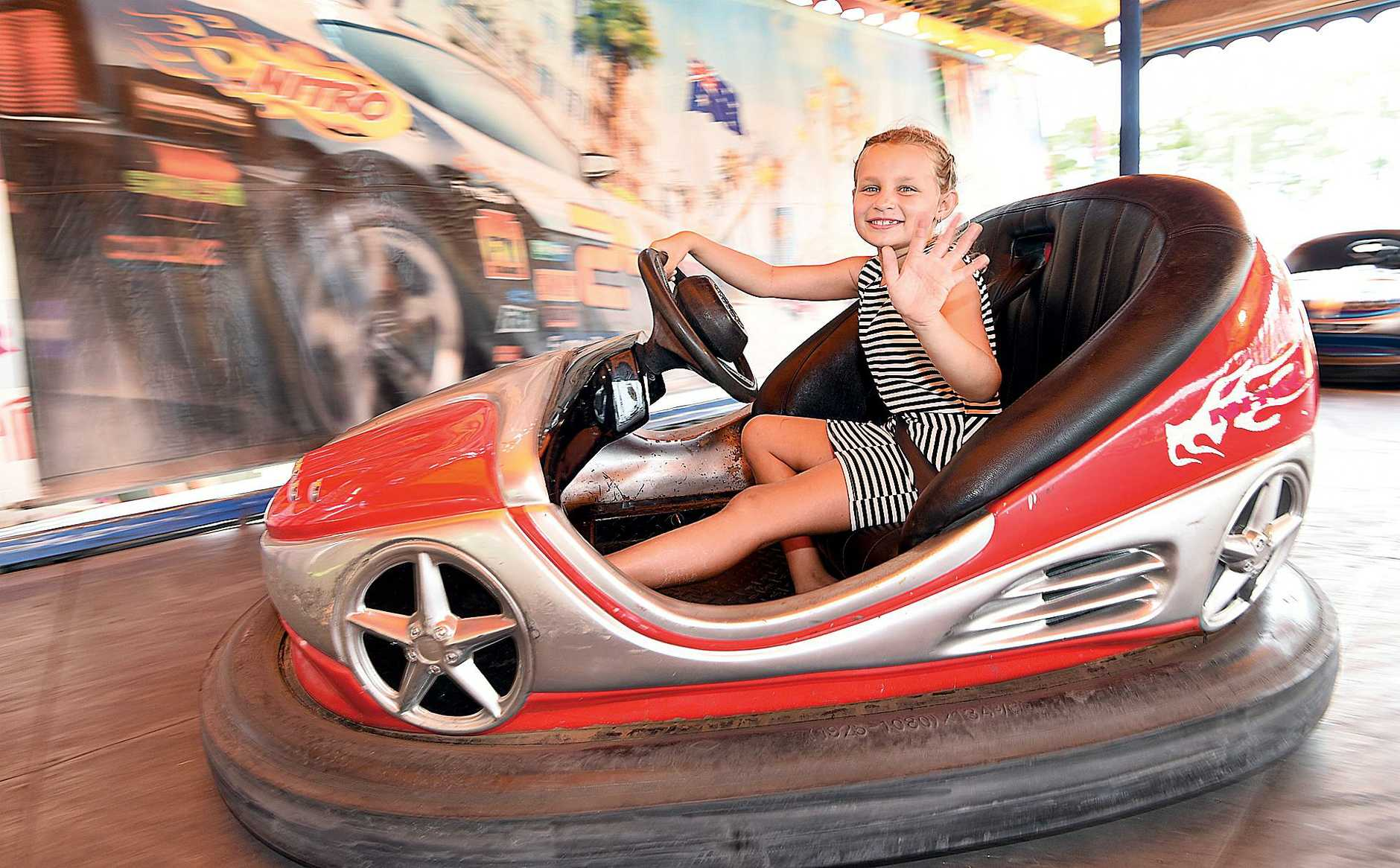 Seafront Oval Family Carnival - 7 yr old Tira Cronk on the dodgem cars.