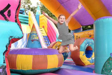 Seafront Oval Family Carnival - 7 yr old Tira Cronk on the jumping castle.
