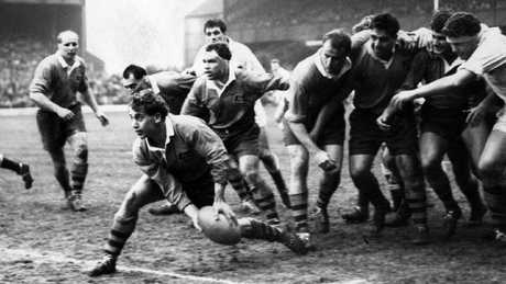 Ken Catchpole gets pass away against England at Twickenham in 1967.