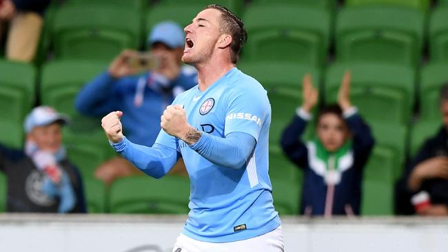 Ross McCormack celebrates a goal against Central Coast Mariners.