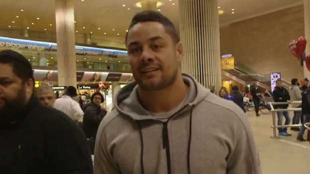 Jarryd Hayne is pictured at Tel Aviv Airport this week.