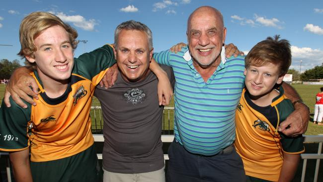 The Wallabies legend with his son Andrew and grandsons Bryce (left) and Bailey.