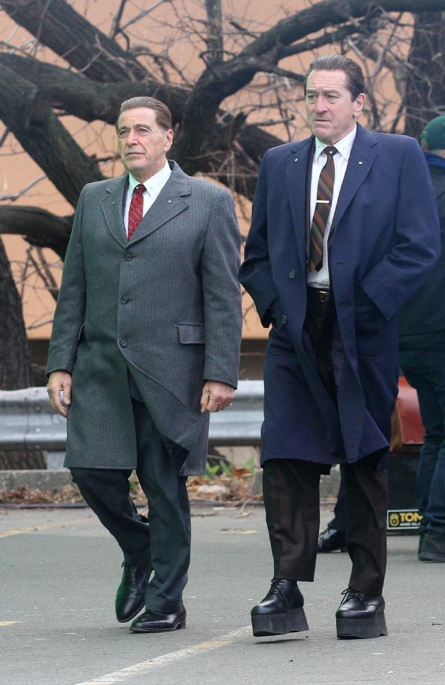 Robert De Niro and Al Pacino filming Martin Scorsese's mob drama, The Irishman.