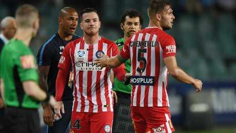 Ross McCormack after injuring himself against Sydney FC.