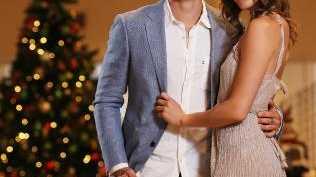 The Bachelor Matty J with his girlfriend Laura Byrne inside David Jones CBD store. Picture: Sam Ruttyn