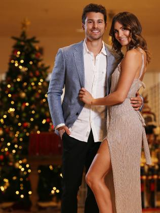 The Bachelor Matty J with his girlfriend Laura Byrne inside David Jones CBD store. Picture: Sam Ruttyn