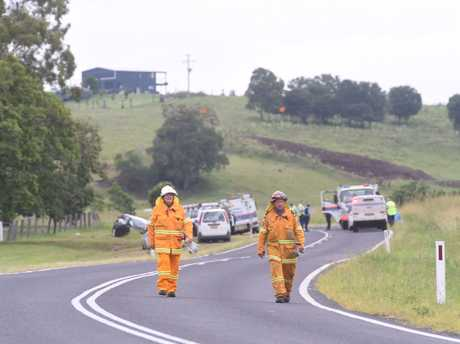 Emergency services at the scene of a crash on Kyogle Rd, Fernside.