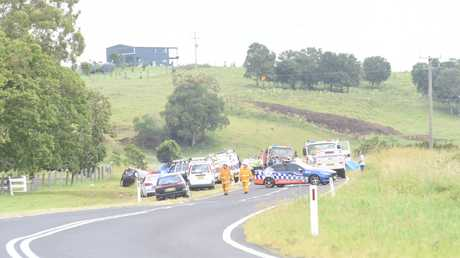 Emergency services at the scene of a crash on Kyogle Rd at Fernside, west of Lismore.