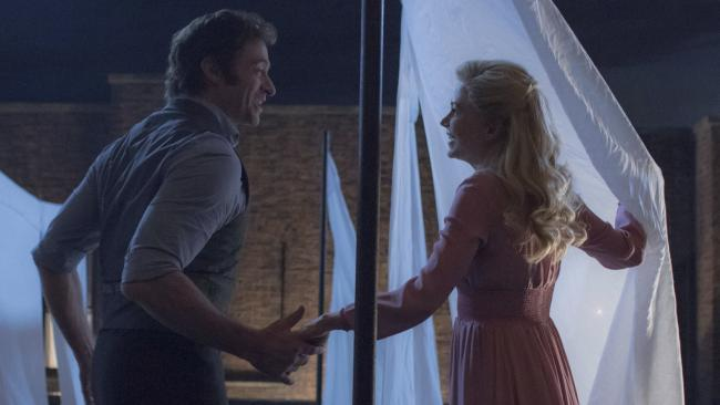 Hugh Jackman, left, and Michelle Williams in The Greatest Showman.