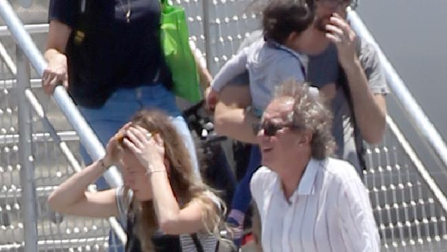 Geoffrey Rush with daughter Angelica arriving on the Sunshine Coast. Picture: Diimex