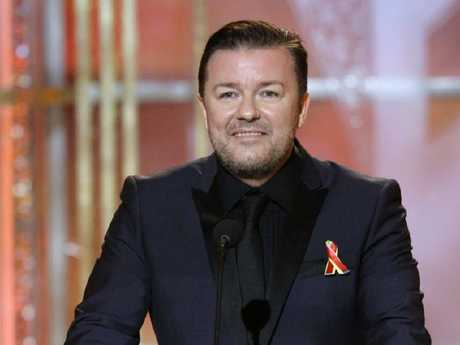 Ricky Gervais on stage at the Golden Globe Awards in 2010. He says he often has a drink before awards shows to loosen up a bit. Picture: NBC