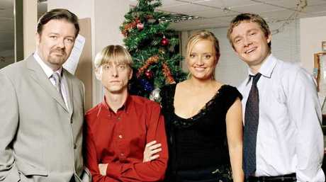 Ricky Gervais, Mackenzie Crook, Lucy Davis and Martin Freeman starred in iconic TV show, The Office. Picture: Supplied