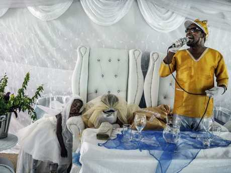 'King of Kings' Moses Hlongwane at his South African wedding to Angel, now known as Mother to All the World. Picture: Jonas Bendiksen / Magnum Photos / Snapper Media