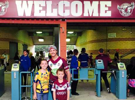 Sean Peckover with Hayden and Joel at Brookvale Oval.