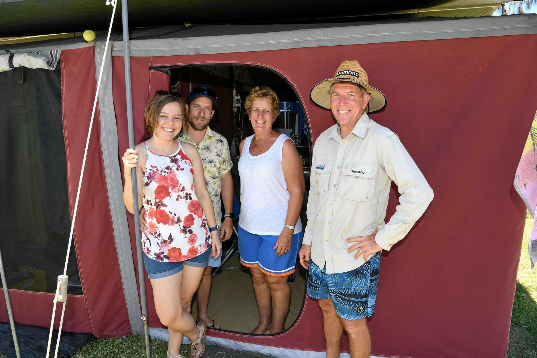BEACH HOLIDAY: Chelsea, Nathan, Janette and Phil Elvery at the Elliott Heads campground.