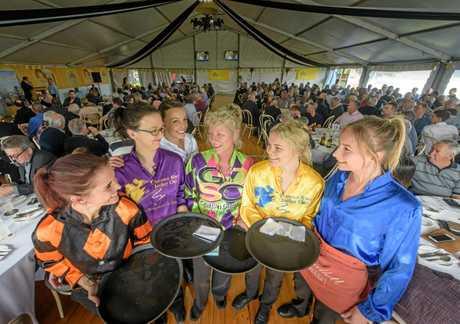 Boe Gibson, Hayley Black, Melanie-Jean Wilson, Liz Weller, Tayla Hourigan and Aleesha Kearns get together to do service for the barrier luncheon