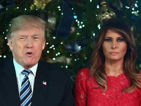 "Donald and Melania Trump sent out a Christmas message of ""peace"" to the globe. Picture: Twitter"
