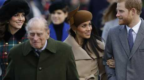 Kate, Prince Philip, Meghan Markle and Prince Harry at a Christmas Day church service in Sandringham. Picture: AP/Alastair Grant