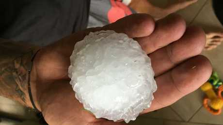 Cricket ball-sized hail fell at Athol, near Toowoomba, Tuesday afternoon. Picture: Supplied/Sandy Robinson