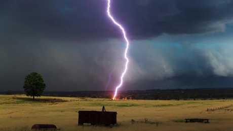 This dramatic photo of lightning striking the Bethany property in Kingaroy was taken by Josh Bjelke-Petersen, grandson of Sir Joh and Lady Flo.