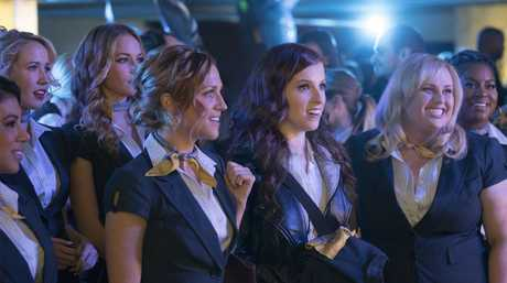 Brittany Snow, Anna Kendrick and Rebel Wilson in a scene from Pitch Perfect 3.