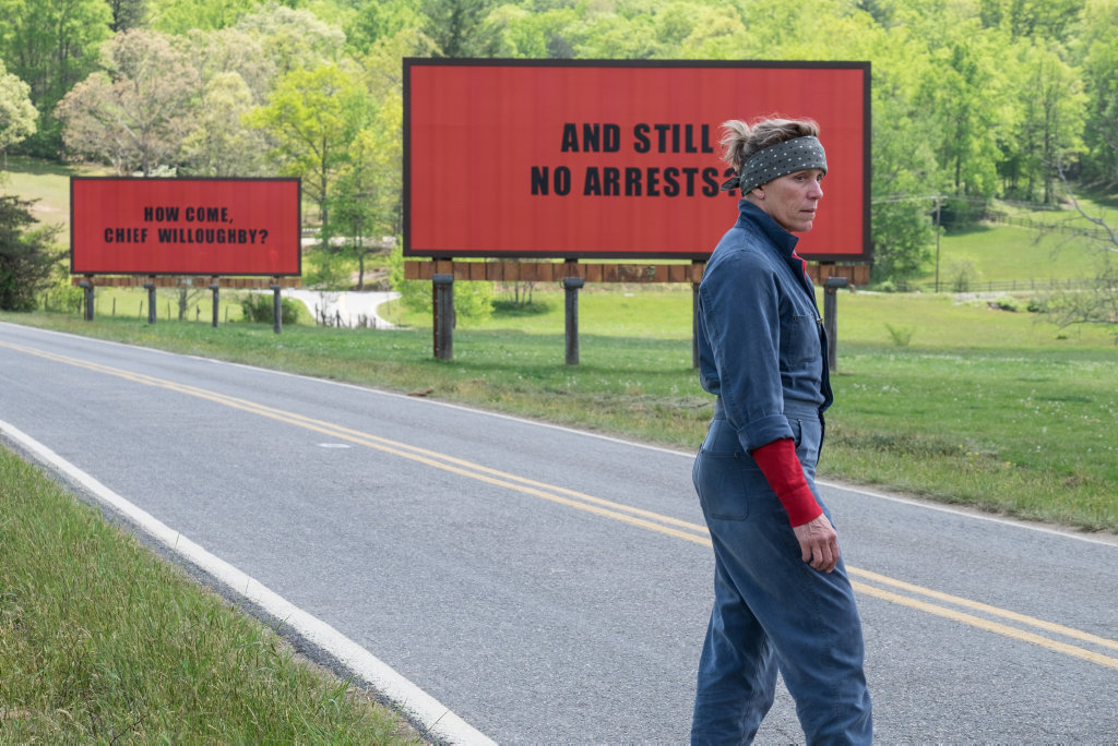 Frances McDormand in a scene from the movie Three Billboards Outside Ebbing, Missouri.