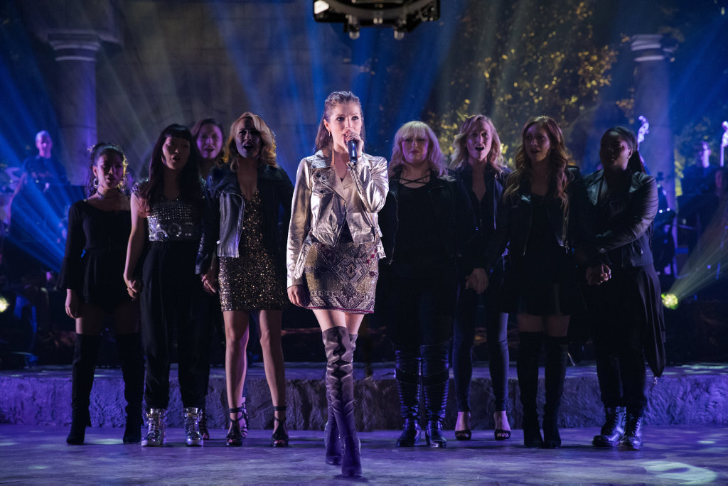 Anna Kendrick, centre, Brittany Snow, Rebel Wilson, Anna Camp, Hana Mae Lee, Chrissie Fit, Ester Dean, Kelley Jakle, and Shelley Regner in a scene from the movie Pitch Perfect 3.