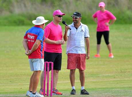 EVER THE CONTRIBUTOR: Jamie Tattersall interviews Glenn Butcher at the Pink Stump match in Calliope last year.