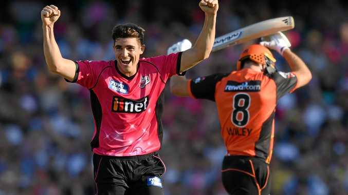 Sean Abbott celebrates a wicket against the Scorchers.
