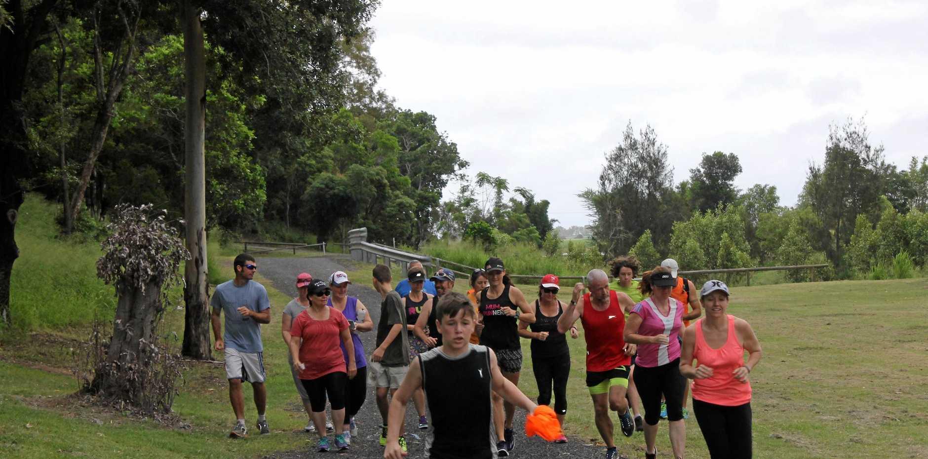 ON THE RUN: Riley Murrell from Tannum Sands Parkrun leads a trial run of the new Bundaberg Parkrun course.