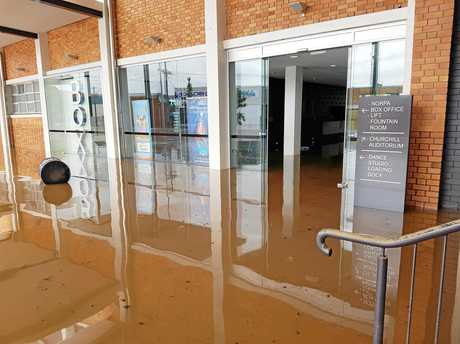 DISASTER: Floodwater entering the Norpa office at Lismore City Hall.