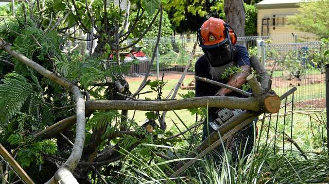 CLEAN-UP: SES crews clear trees in Kumbia following the Boxing Day storms.