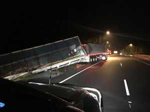 Truck hangs over edge of Range: Driver escapes