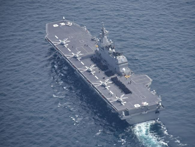 Japan's Izumo 'helicopter destroyer'. Tokyo is considering converting this and another ship of the class to be capable of operating F-35B stealth 'jump jets'.