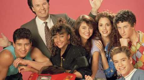 Dustin Diamond far right with his Saved by the Bell co-stars. Picture: Supplied