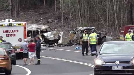 All that remains of the incinerated vehicles on the Princes Highway. Picture: TNV