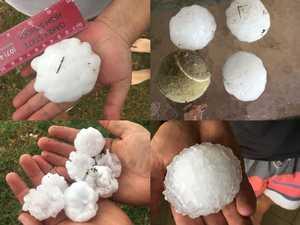 Residents share photos: Cricket-size ball hail lashes region