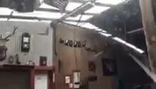 Storm destroys Mark Tones' shed