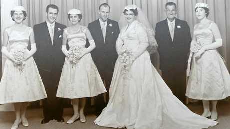 GUNNADAH WEDDING: Diane Finlay (left), Tony Percy, Noreen Singleton, Lawrence Percy (groom), Margaret Singleton (bride), Les Singleton (bride's father) and Beatrice Percy.
