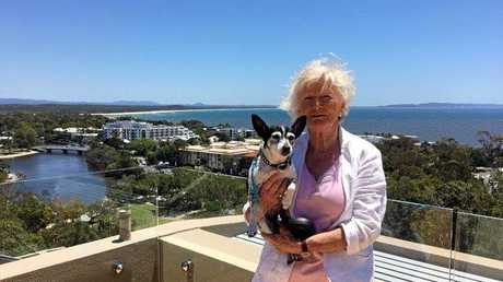 Spicey the rescue dog and his owner Inge Rheinberger back home in Australia after their adventure.