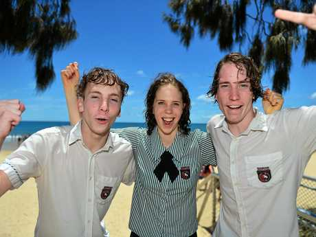 Riley, Tayla and Matt celebrate the end of Year 12.