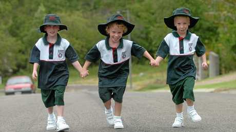 Matt, Tayla and Riley ready for prep school in 2005.