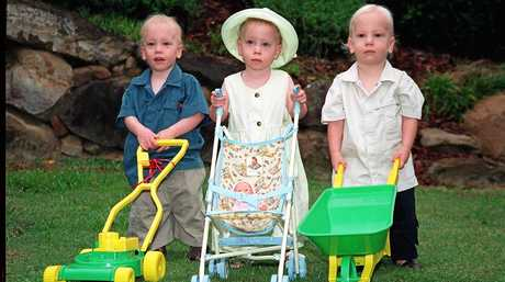 The triplets (from left) Matt, Tayla and Riley, celebrate their second birthdays.