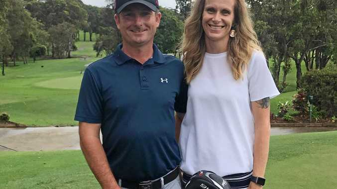 DREAM JOB: Tom Arnott, pictured with wife Jodie, is the new head professional at Caloundra Golf Club.