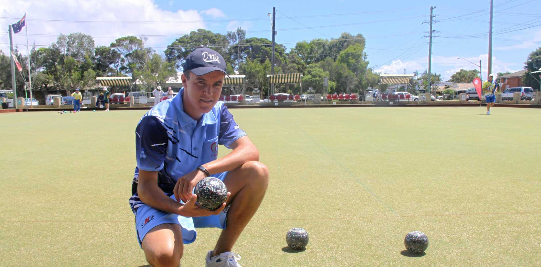 SUMMERLAND SERIES: Young gun Jono Davis, 16, is defending his title in the men's singles and playing in the pairs division of the prestigious Summerland Series at the Ballina Bowls Club.